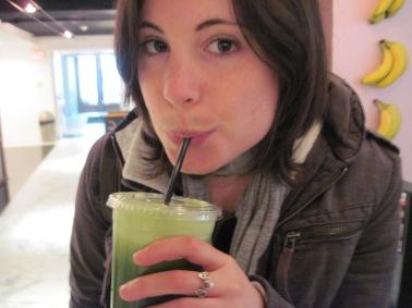 """Drinking """"Alkaline Forest"""" at Ryan Crown's Juice Club."""