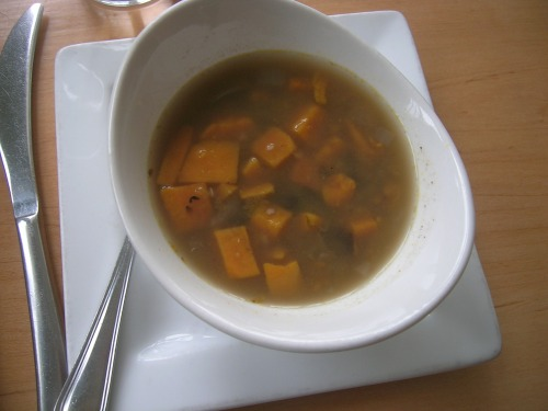 The vegan soup of the day at Leaf Vegetarian. Made with squash and a delicate broth.