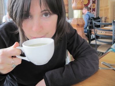 Drinking a delicate green tea at Dushanbe Tea House in Boulder, Colorado.
