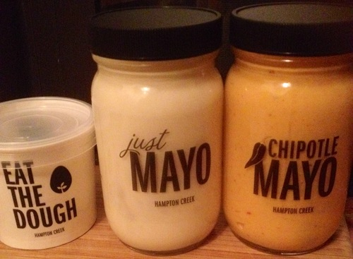 Hampton Creek Foods Just Mayo, Eat The Dough and Chipotle Mayo. Photo via Vegansaurus!/Megan Adamson-Jackes.