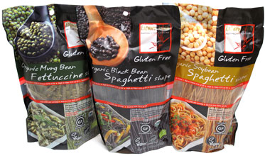 Gluten-free, organic black bean, soybean and mung bean pastas from Explore Asian.