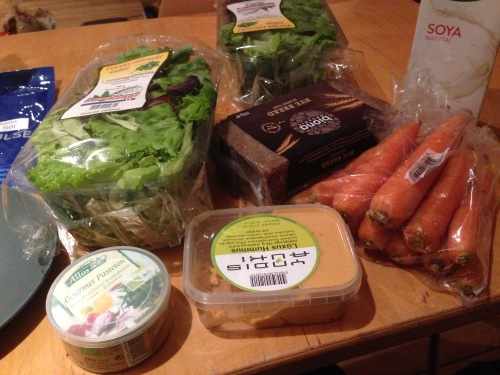A typical spread of food we'd pack with us for day trips to places outside of Reykjavík. Most of these items were purchased at the health food store chain, Heilsuhúsið, and the greens were from a local big chain grocery.