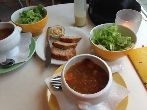 A beautiful, simple meal (lentil soup, salad, and homemade bread and hummus) from Cafe Garðurinn in Reykjavík.