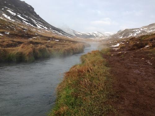 A hot river in Hveragerði, Iceland
