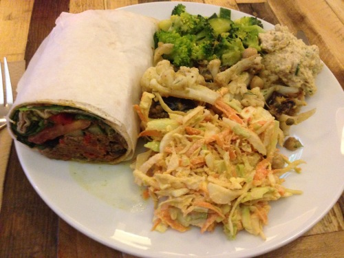 The vegan special from Gló Restaurant in Reykjavík. A nut pate wrap, broccoli, cole slaw, hummus and cauliflower. The best meal we had in Iceland, hands down.